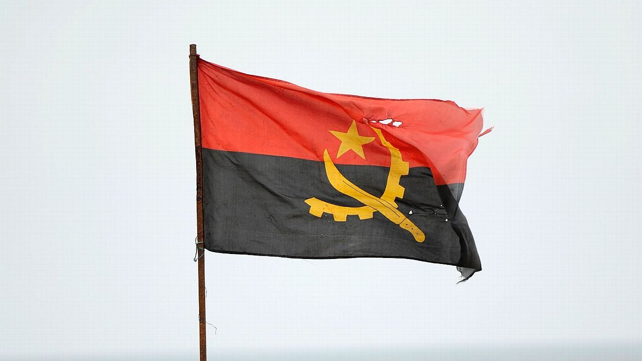 The national flag of Angola.