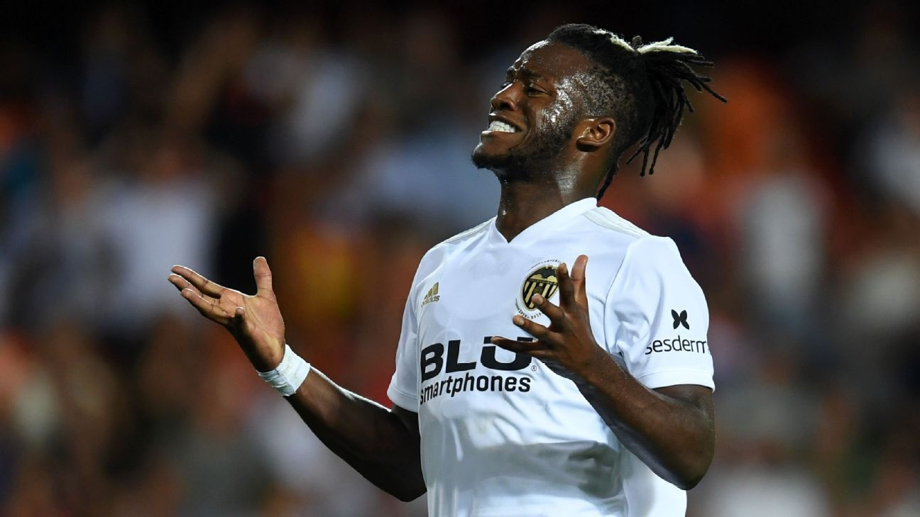 Michy Batshuayi reacts during Valencia's La Liga match against Atletico Madrid.