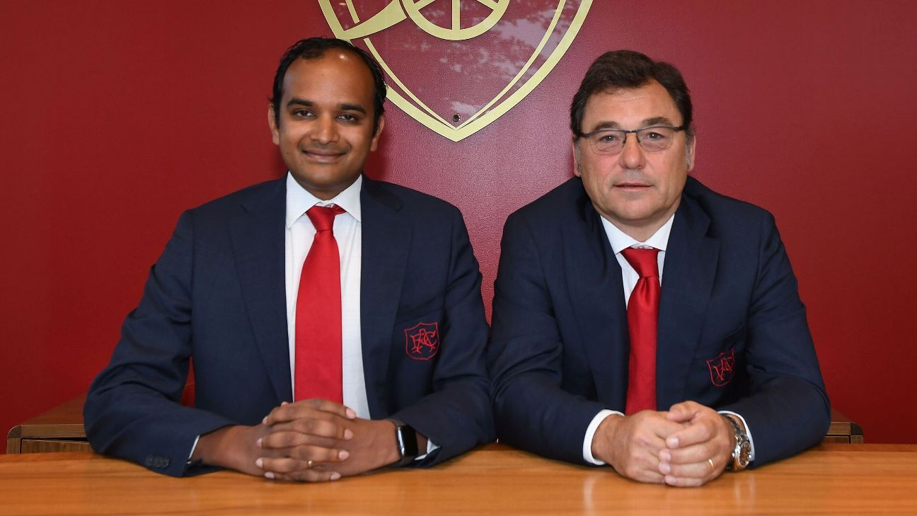 Vinai Venkatesham, Arsenal's managing director, and Raul Sanllehi, head of football.