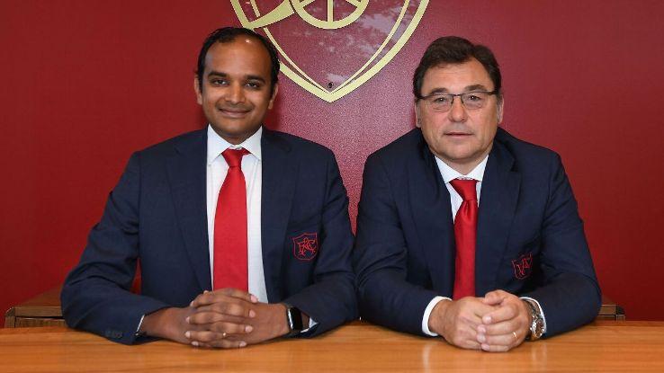 Vinai Venkatesham, Arsenal's managing director, and Raul Sanllehi, head of football.