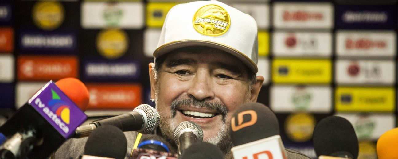 Diego Maradona speaks during a press conference after his first match as coach of Mexican second-division club Dorados, against Cafetaleros, at the Banorte stadium in Culiacan, Sinaloa State, Mexico, on September 17, 2018