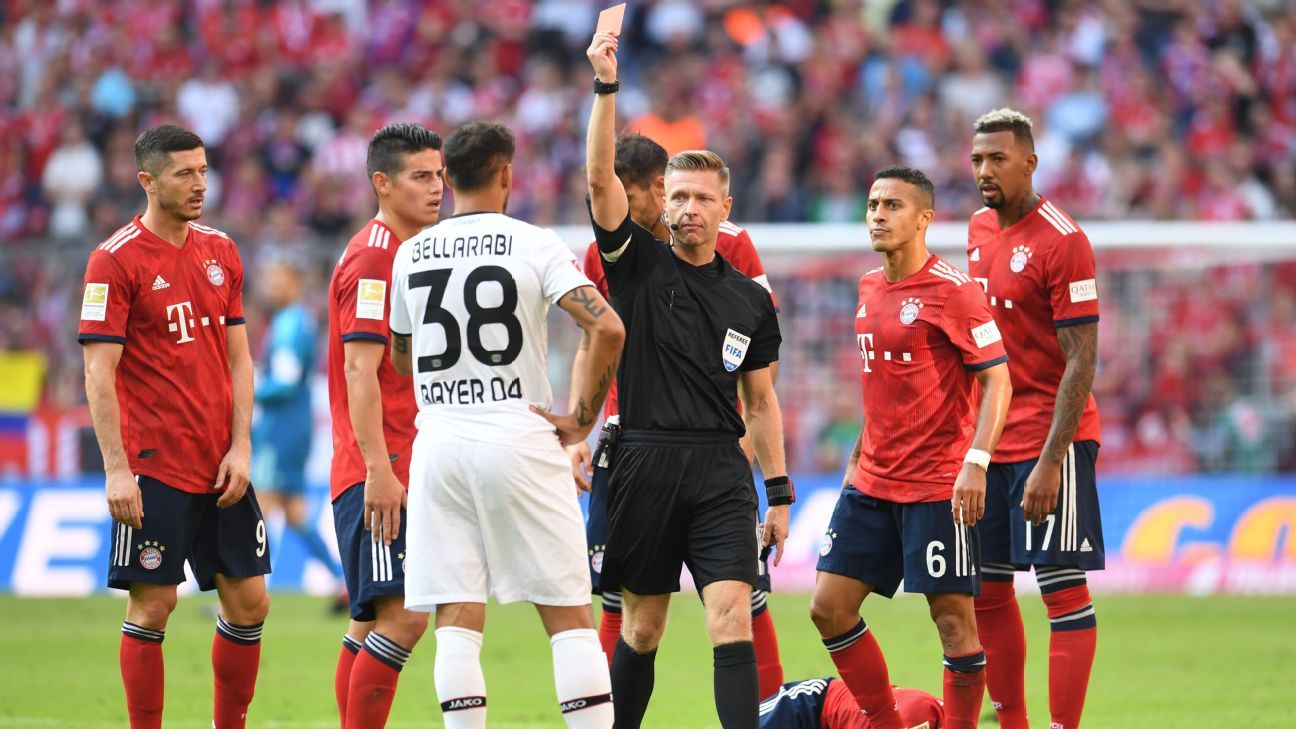 Karim Bellarabi saw red for a foul on Bayern Munich's Rafinha.
