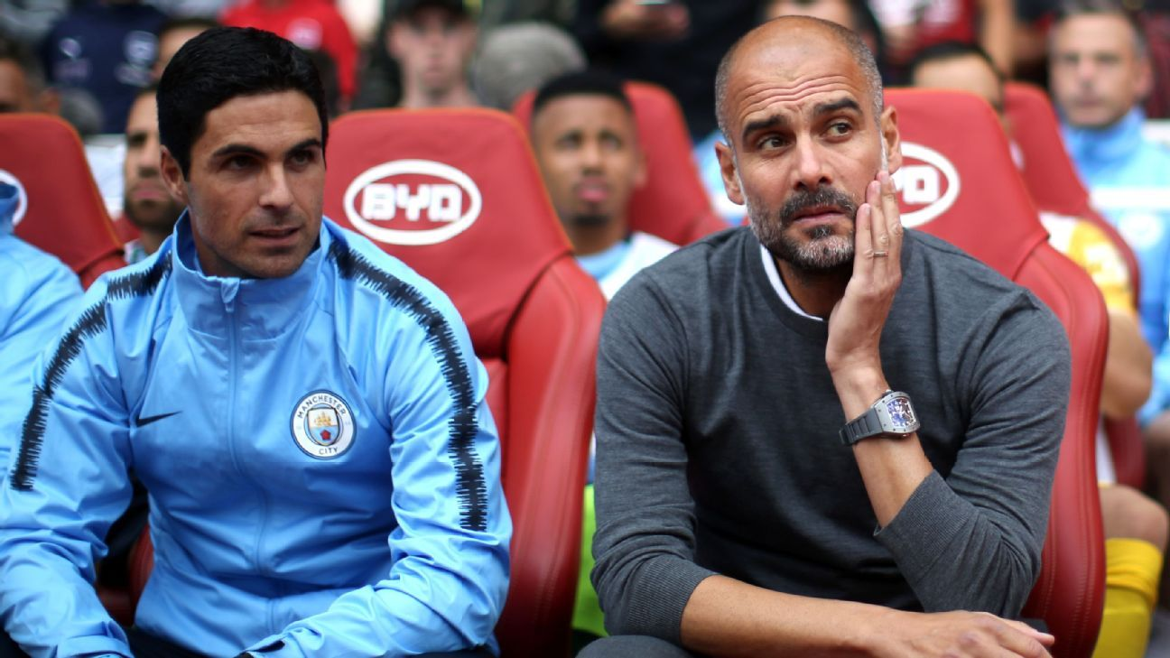 Mikel Arteta works as an assistant to Pep Guardiola at Manchester City.