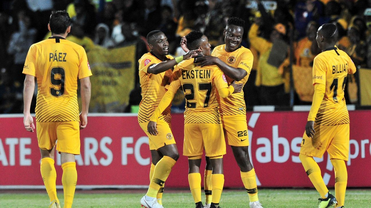 Philani Zulu of Kaizer Chiefs celebrates goal with teammates