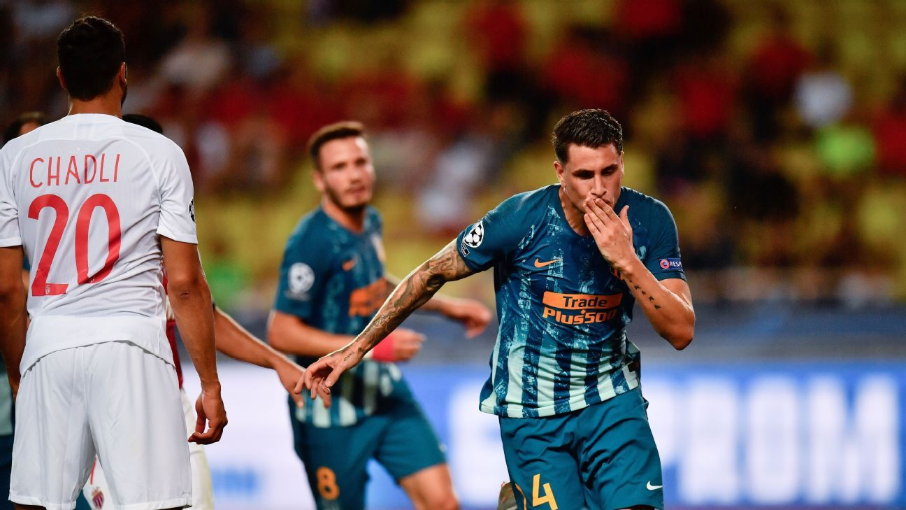 Jose Gimenez's header put Atletico Madrid up 2-1 in their Champions League opener against Monaco.