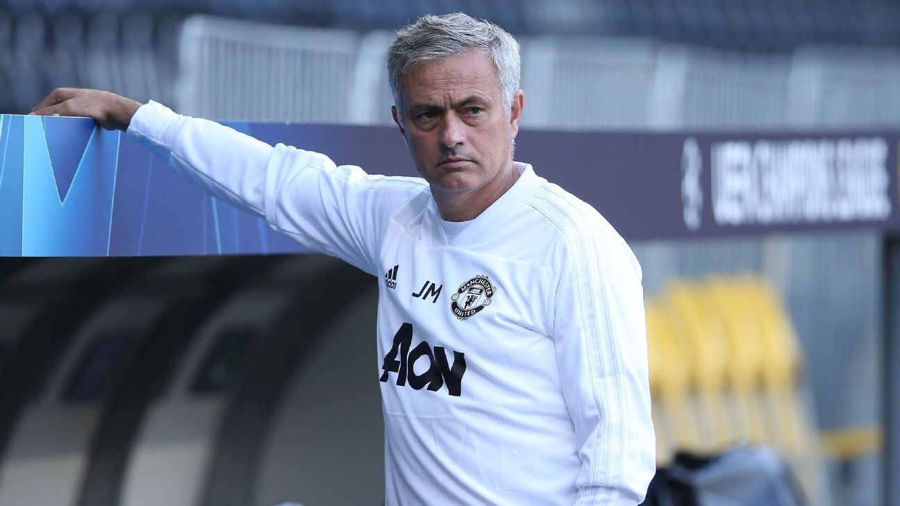 Jose Mourinho oversees a training session at Stade de Suisse in Bern.