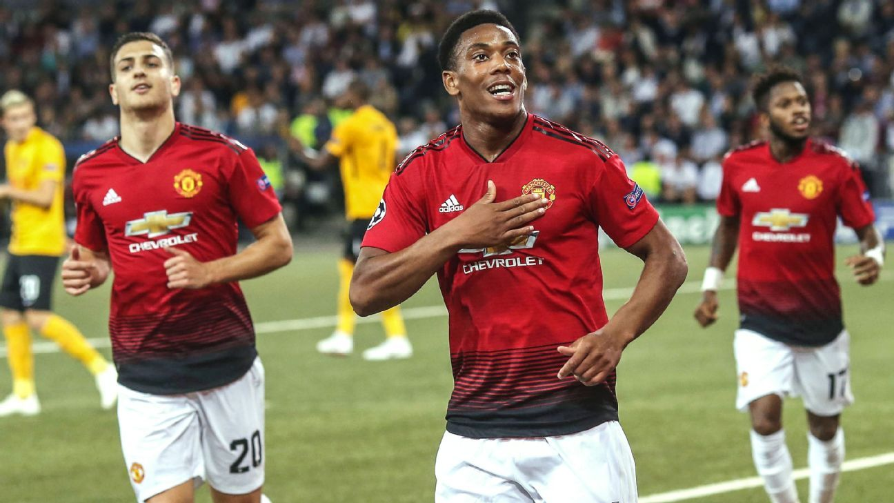 Anthony Martial scored his first goal of the season in Manchester United's win vs. Young Boys.