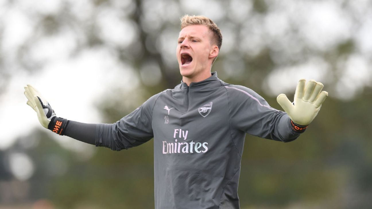 Bernd Leno shouts to his teammates during an Arsenal training session.