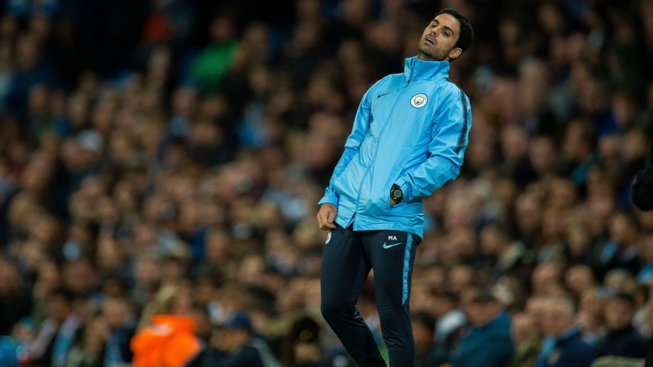 Mikel Arteta reacts during Manchester City's loss to Lyon on Wednesday.