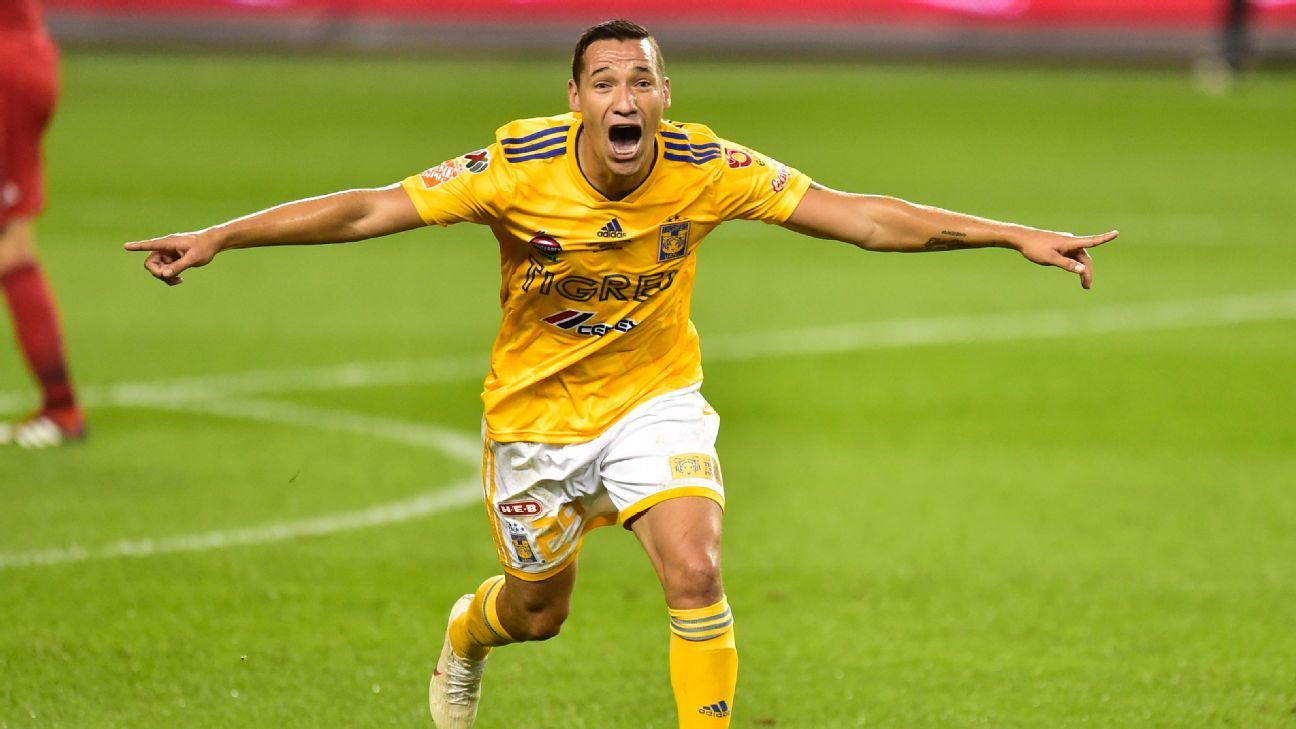 Jesus Duenas celebrates after scoring in Tigres' Campeones Cup match against Toronto.