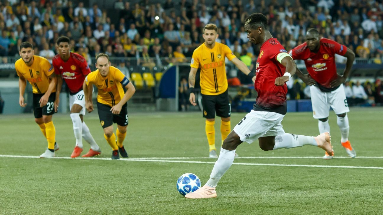 Manchester United's Paul Pogba scores from the penalty spot