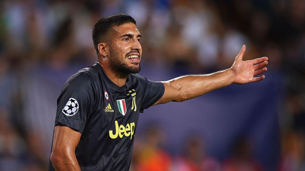 Juventus' Emre Can reacts during the Champions League game against Valencia.