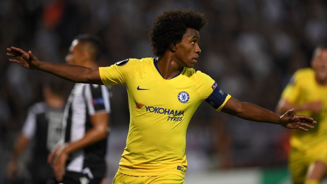 Willian captained Chelsea and opened the scoring as they ran out 1-0 winners against PAOK.