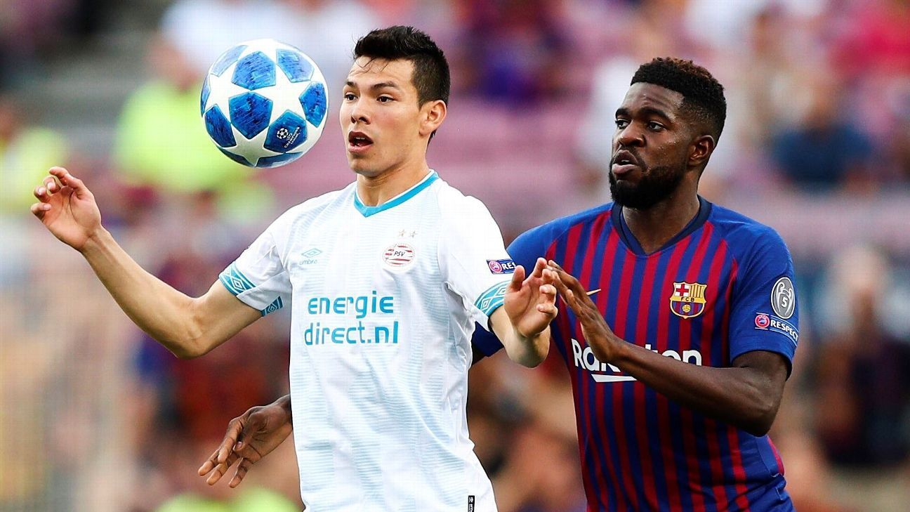 Barcelona defender Samuel Umtiti made life difficult for PSV midfielder Hirving Lozano in the Mexican star's Champions League group stage debut.
