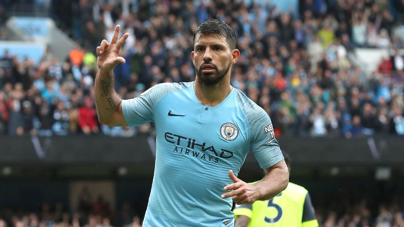 Manchester City's Sergio Aguero celebrates during a Premier League game against Huddersfield Town.
