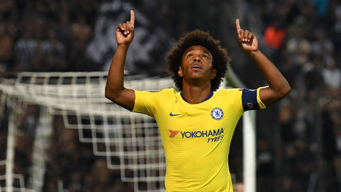 Chelsea's Willian celebrates during the Europa League game against PAOK Salonika.