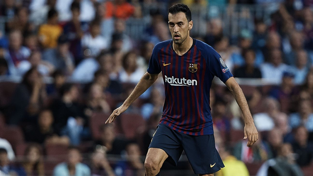 Sergio Busquets during Barcelona's 4-0 win against PSV Eindhoven.