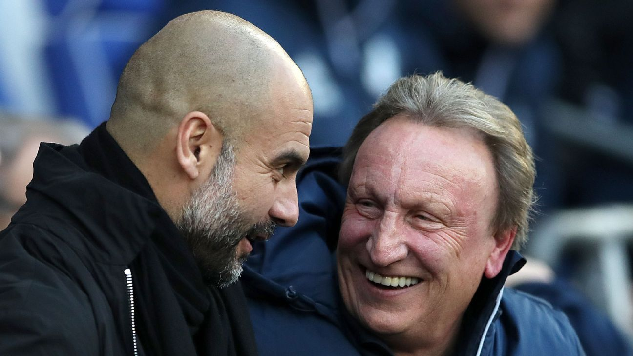 Pep Guardiola and Neil Warnock talk before January's Cardiff vs. Manchester FA Cup tie.