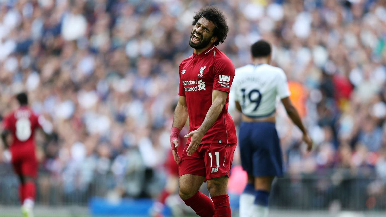 Mohamed Salah reacts during Liverpool's Premier League win over Tottenham.