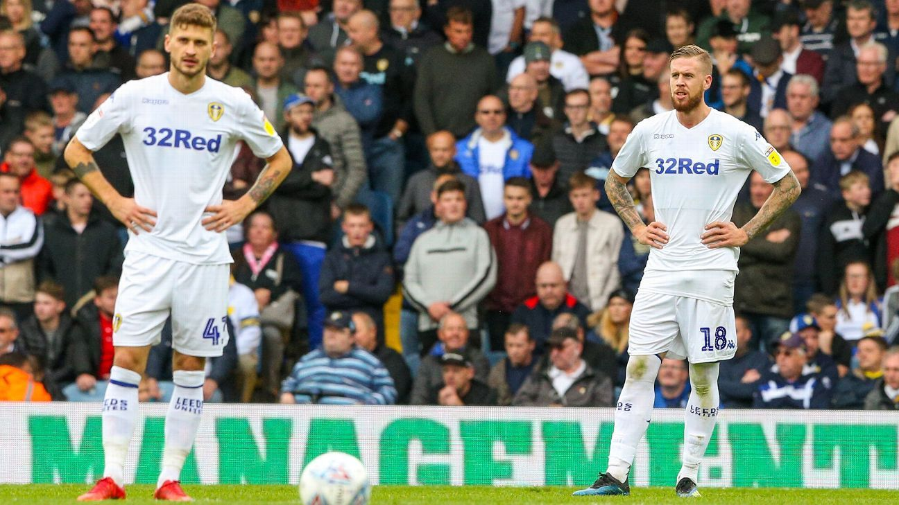 Leeds United's Mateusz Klich and Pontus Jansson react after going behind against Birmingham.