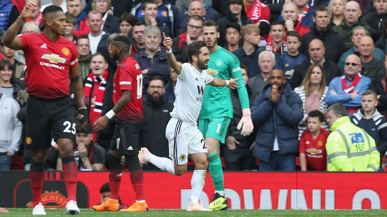 Joao Moutinho scored his first Premier League goal for Wolves against Manchester United at Old Trafford