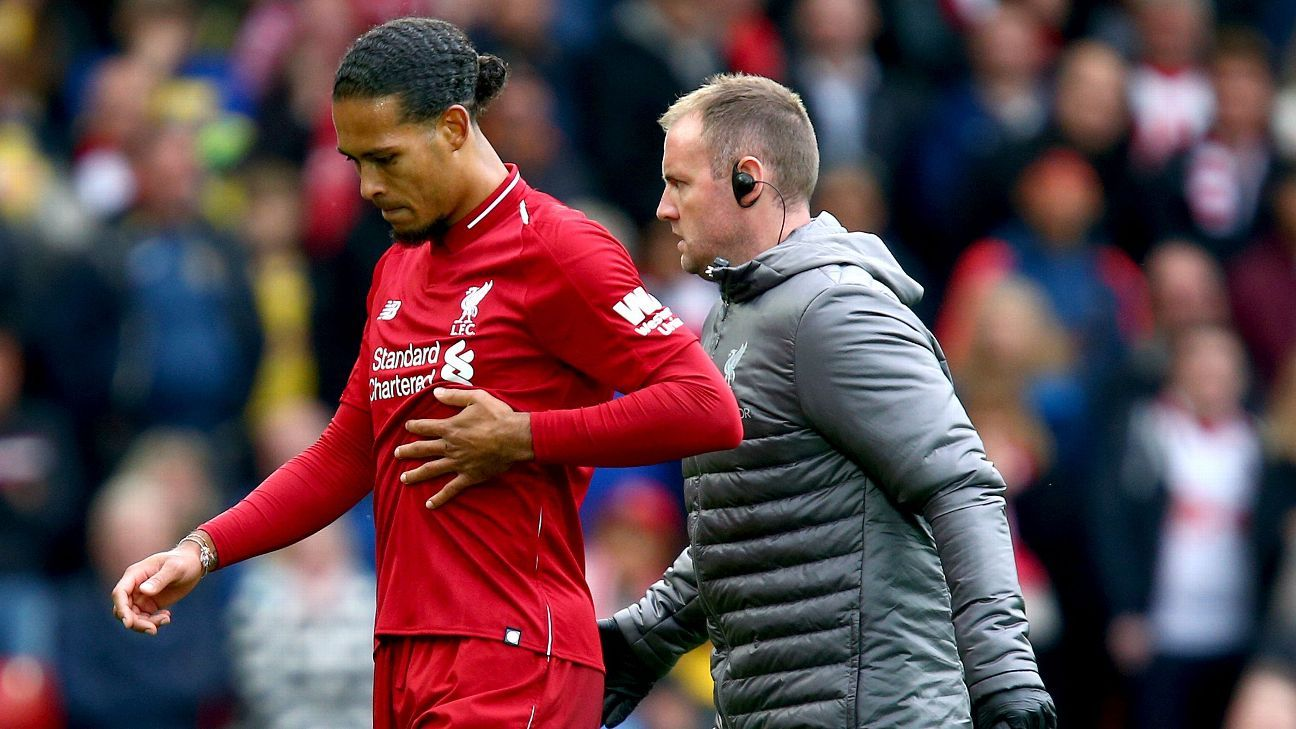 Virgil van Dijk was substituted after an hour of Liverpool's match against Southampton