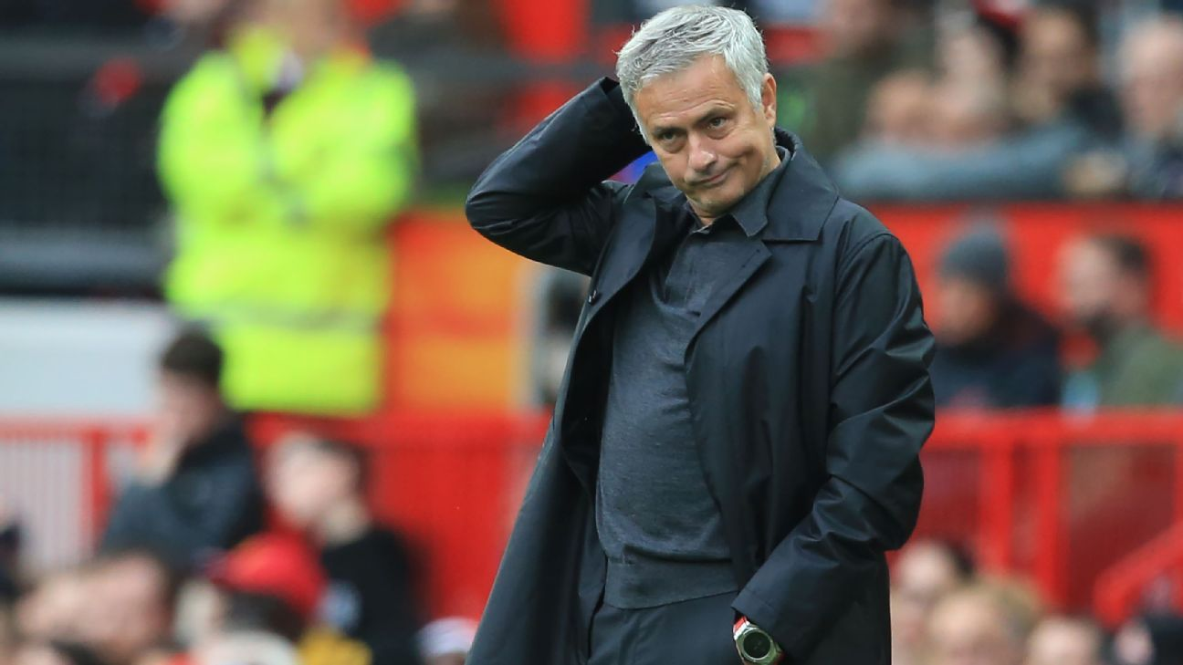 Jose Mourinho looks on during Manchester United's Premier League draw with Wolves.