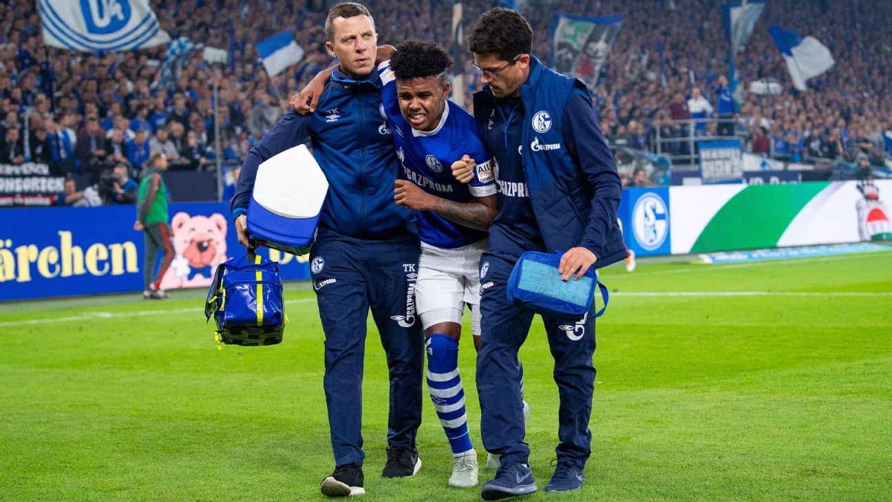 Weston McKennie is helped off after being injured against Bayern Munich.