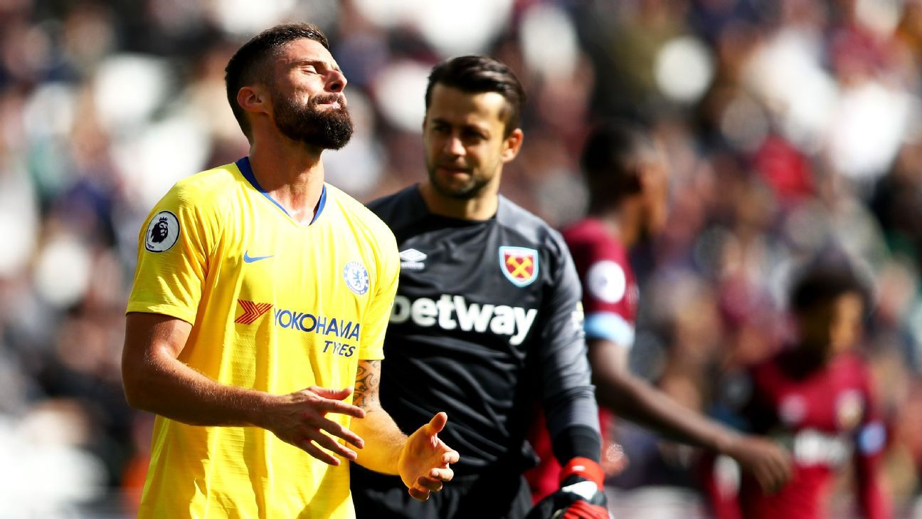Olivier Giroud reacts during Chelsea's Premier League draw at West Ham.