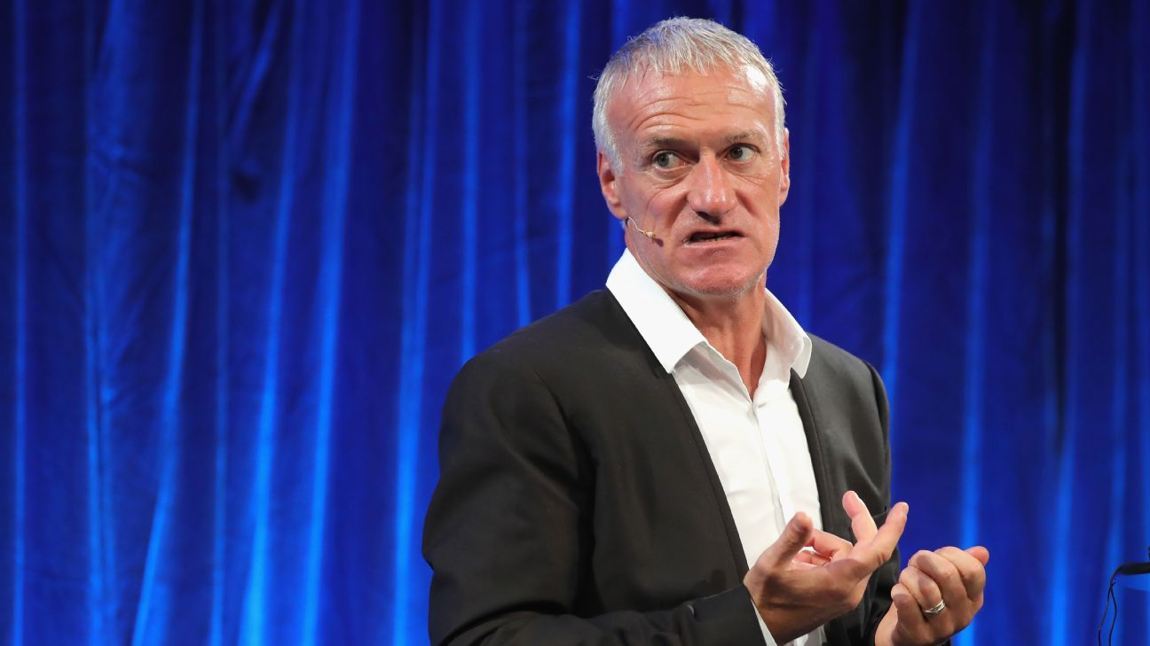 Didier Deschamps speaks at a FIFA coaching summit in London.