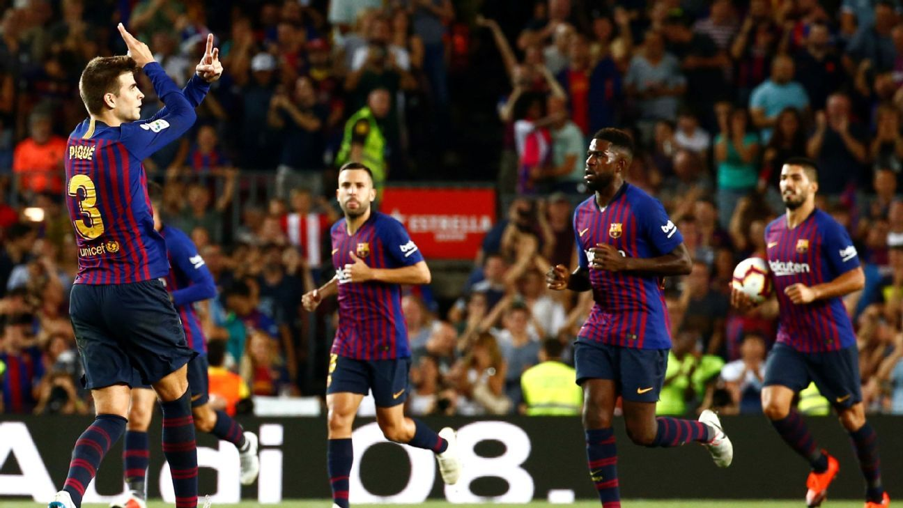 Gerard Pique's second-half header helped Barcelona manage a 2-2 draw against visitors Girona on Sunday.