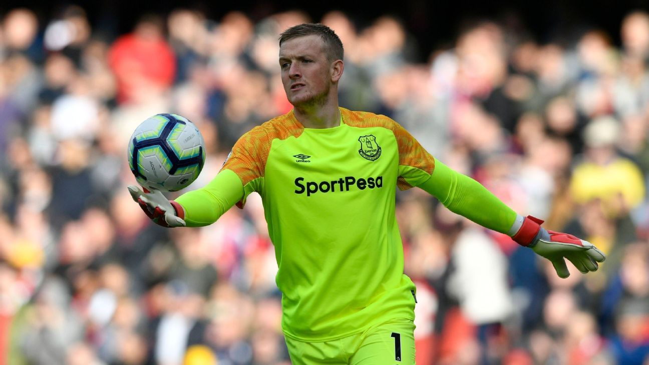 Jordan Pickford and Everton have given up two goals in each of their three away games this Premier League season.