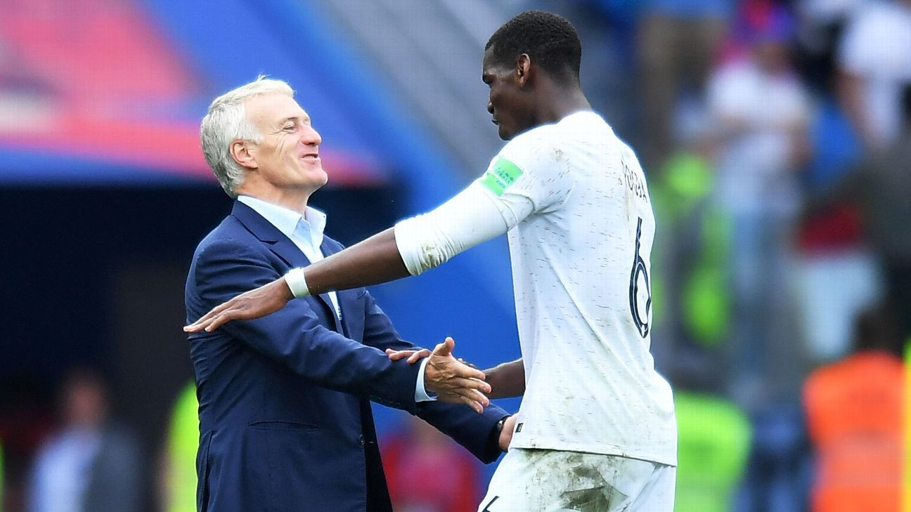 Didier Deschamps with Paul Pogba