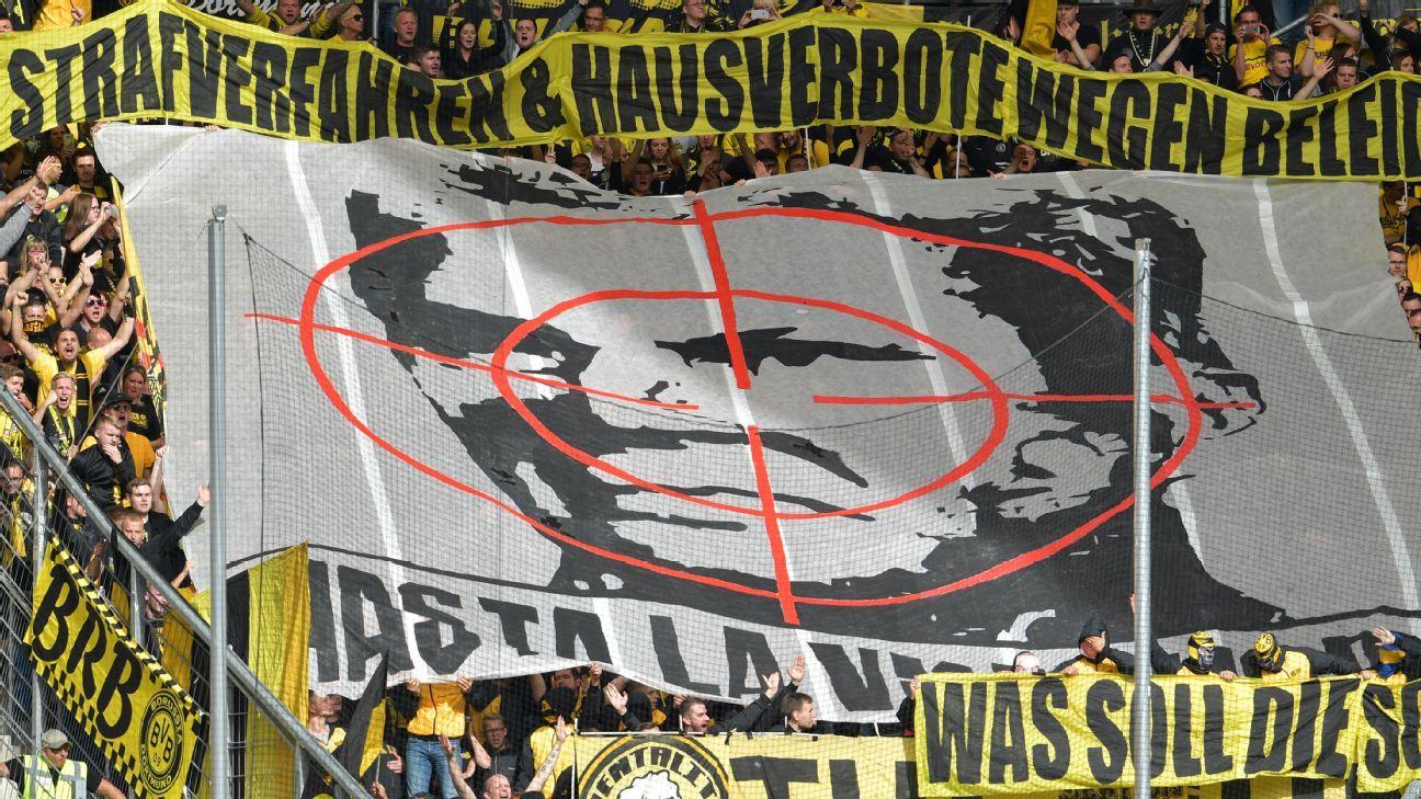 Borussia Dortmund fans protest Hoffenheim owner Dietmar Hopp.