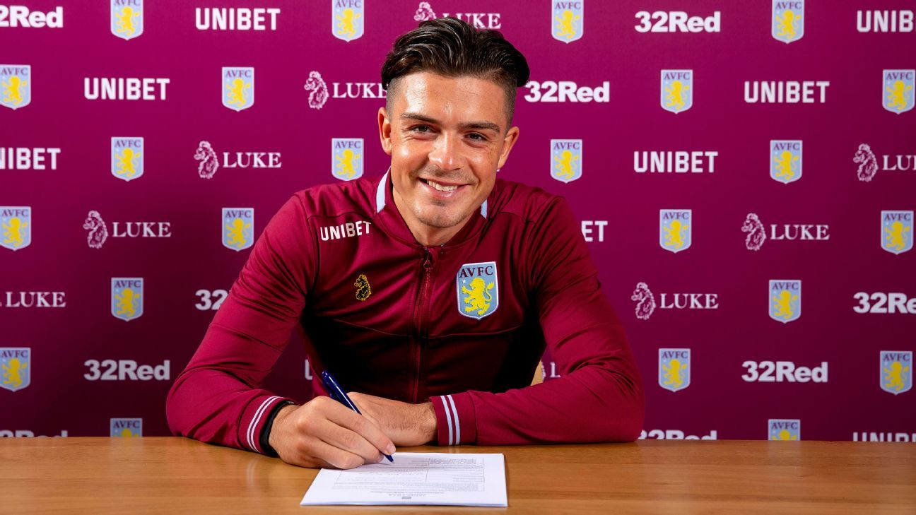 Jack Grealish signing his new contract for Aston Villa.