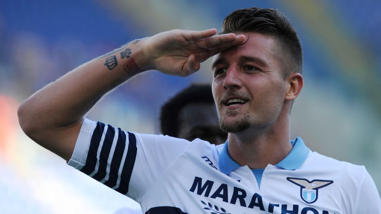 Sergej Milinkovic-Savic celebrates after scoring in Lazio's Serie A win over Genoa.