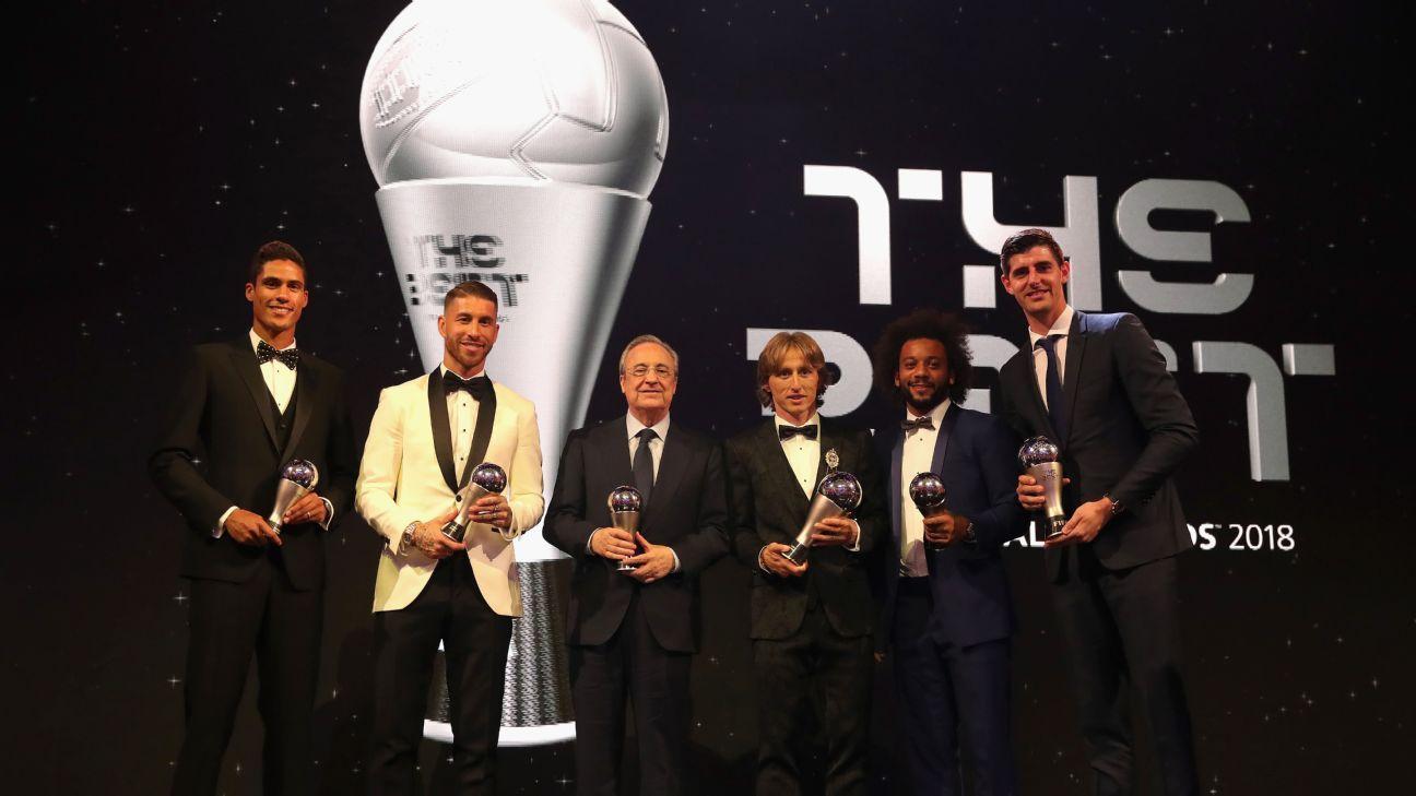 Raphael Varane, Sergio Ramos, Florentino Perez, Luka Modric, Marcelo & Thibaut Courtois