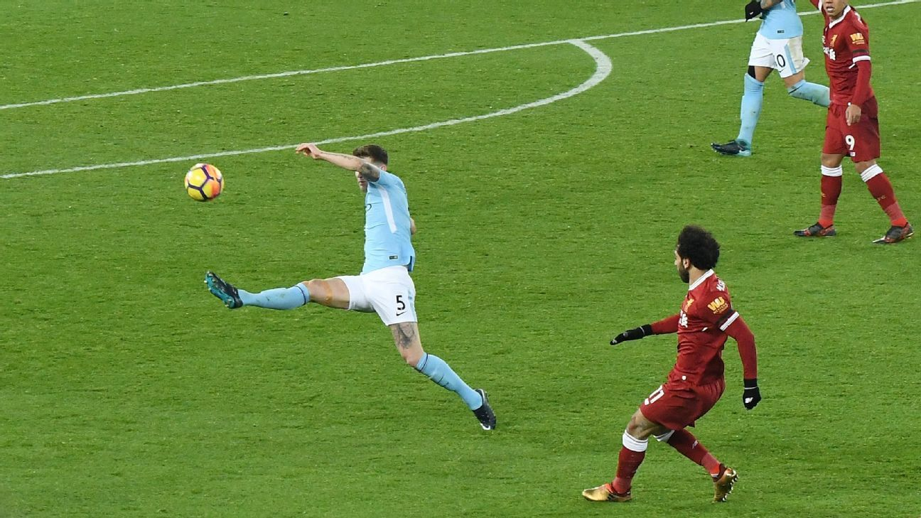 Mohamed Salah scored against Manchester city with a lob from 35 yards out