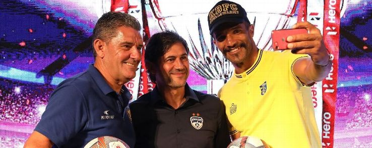 BFC coach Carles Cuadrat (centre) wants the club to forever be associated with possession-based, attacking football.