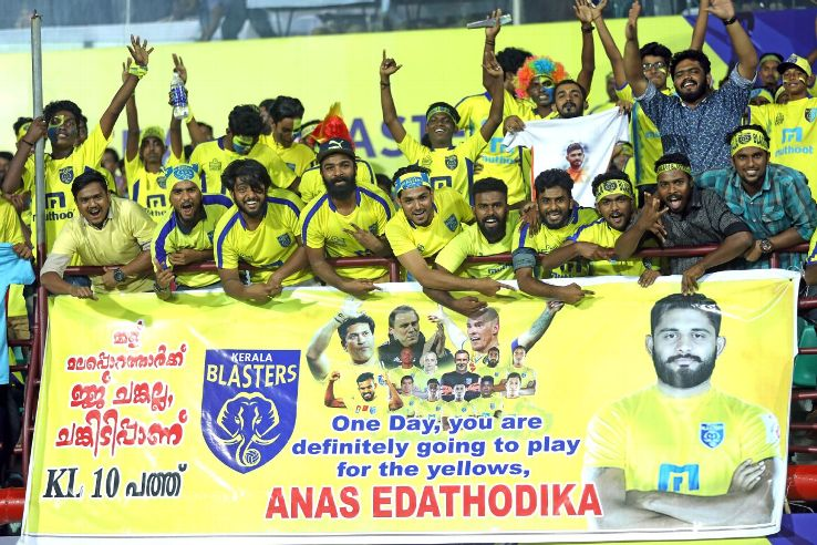 Kerala Blasters' fans make their support for Anas Edathodika known during a game against Jamshedpur FC in Kochi last season. The bit in Malayalam on the banner reads: