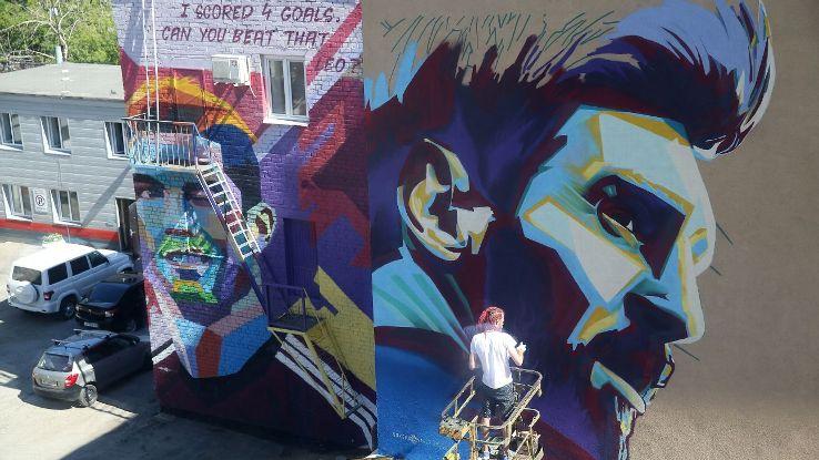 Cristiano Ronaldo and Lionel Messi murals in Kazan, Russia
