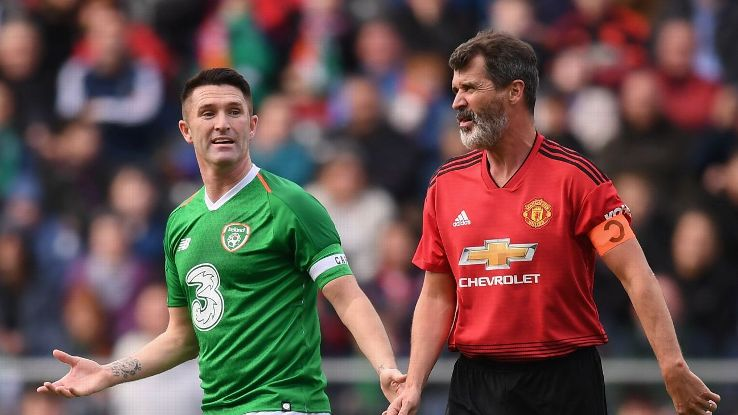 Former Ireland teammates Robbie Keane and Roy Keane share a laugh at the Liam Miller Memorial match.