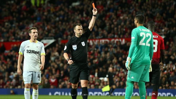 Sergio Romero saw a straight red for handling the ball outside of his area against Derby County.