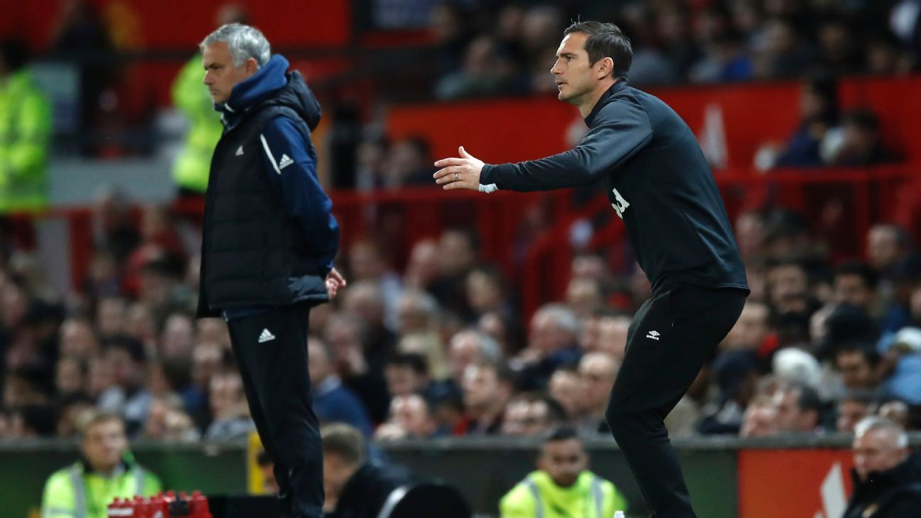 Frank Lampard, left, gestures to his players during Derby County's Carabao Cup match with Manchester United.
