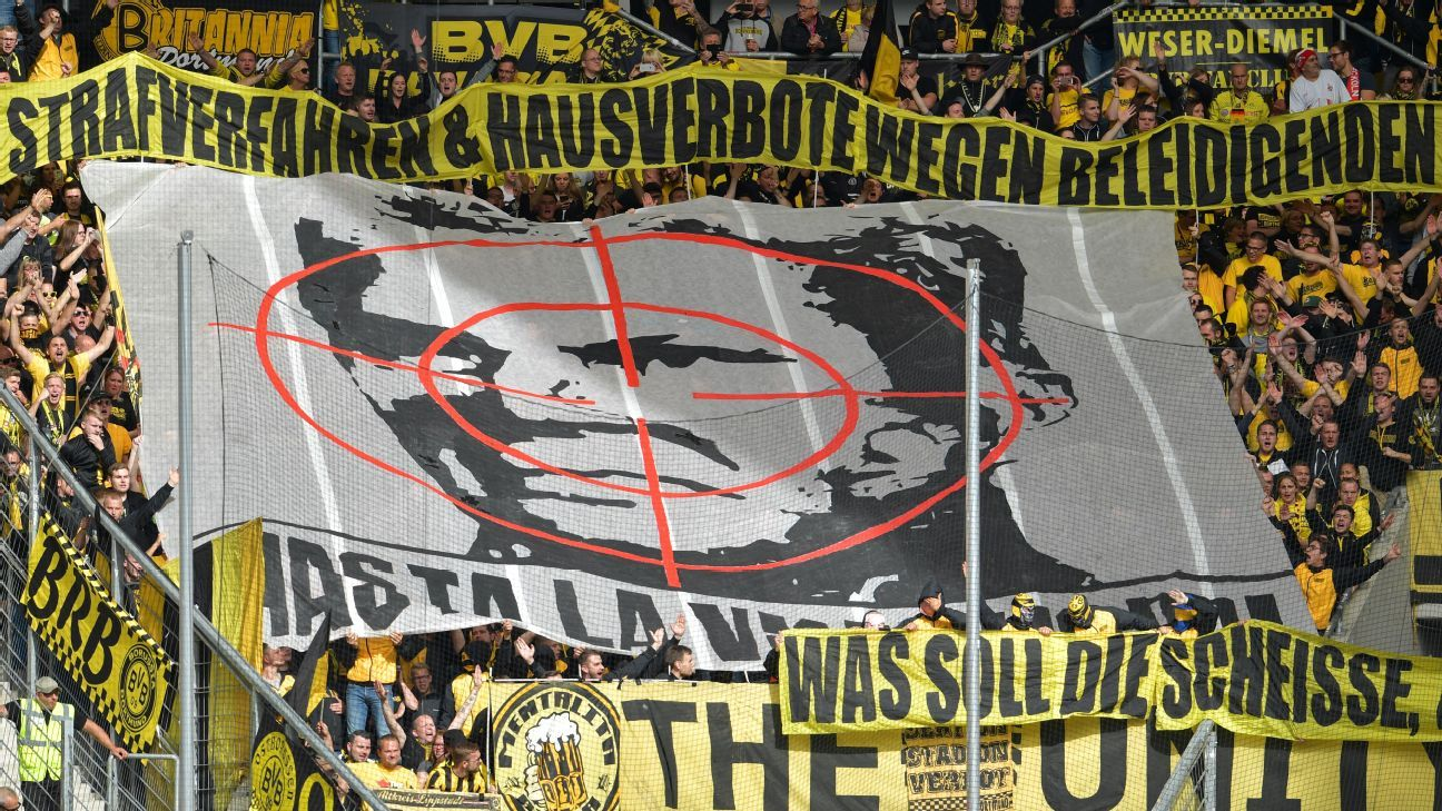 Dortmund fans displayed the banner during Saturday's game at Hoffenfeim.
