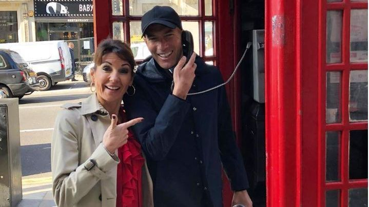 Zinedine Zidane posted a picture with his wife using a London phone box on his Instagram