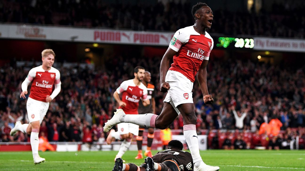 Danny Welbeck celebrates after scoring in Arsenal's Carabao Cup win over Brentford.