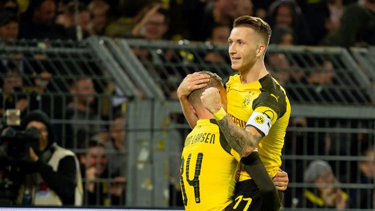 Marco Reus' two goals brought him to a 100 career goals with Borussia Dortmund.