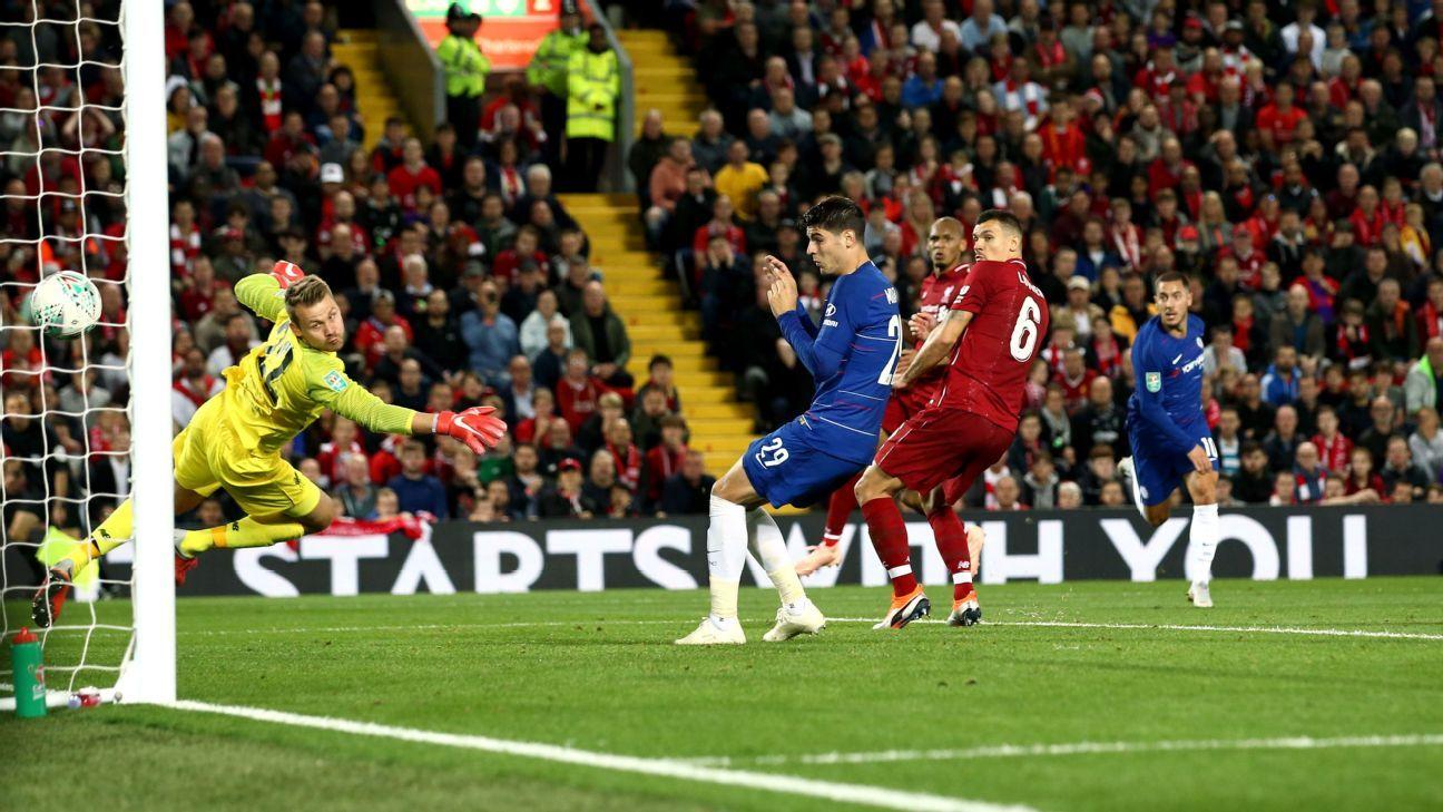 Eden Hazard of Chelsea scores his side's second goal