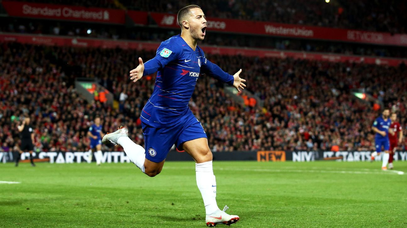 Eden Hazard celebrates after scoring in Chelsea's Carabao Cup win at Liverpool.